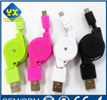 Colorful Standard Micro USB Cable Retractable USB 2.0 Cable for Computer Android Mobile Phone