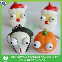 Promotional Soft PVC Keychain, Halloween Eye Pop Out Squeeze Keychain, PVC Toy Keyring