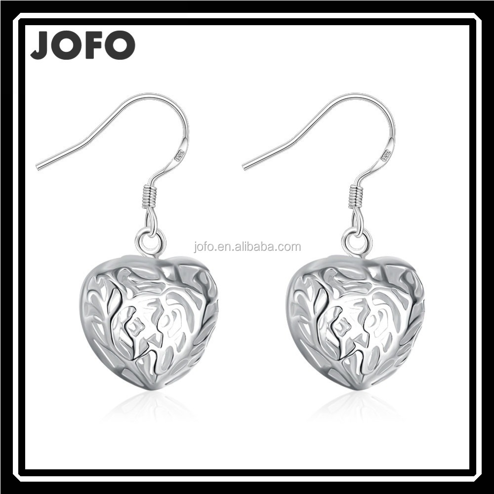 Wholesale 925 Sterling Solid Silver Pair Charm Solid Heart Earrings White Gold Plated Heart Crystal Earrings