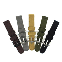 stock black/grey/sandy/Army green/brown 22/24mm canvas bracelet for watch