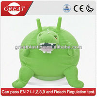 Dinosaur cover skipping ball/ plush cover animal hopper ball/ cute cover with inflatable pvc jumping ball inside
