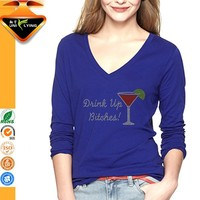 Wholesale wine glass design custom screen printed tshirt