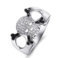 2016 NEW 925 Sterling Silver Skull Rings for Men Handsome Micro Paved Skeleton Design Finger Jewelry Unique MoonSo KR2520S