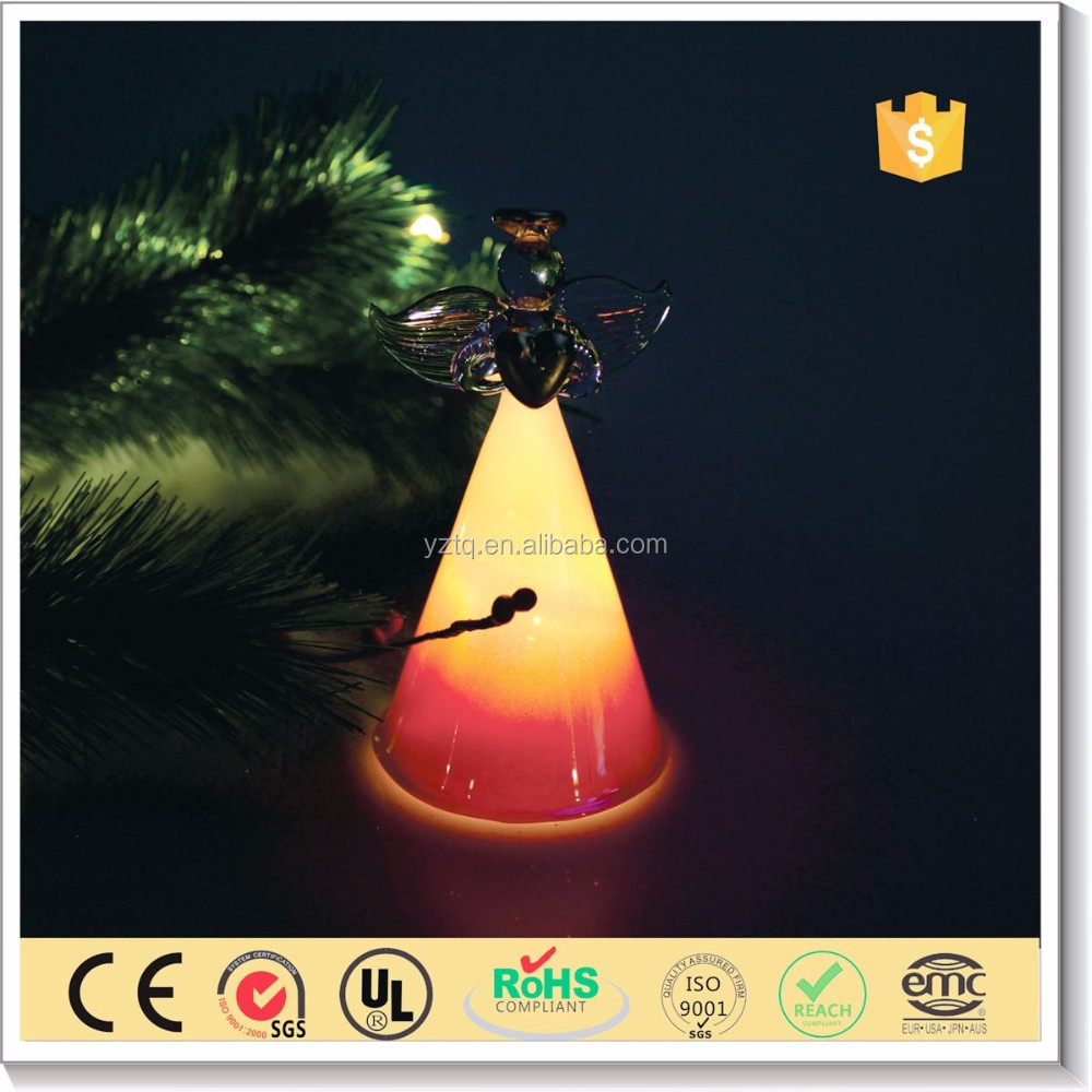 Hot sale christmas decoration led glass angel figures with wings