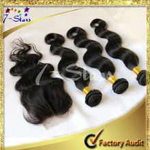 6A grade Human hair products Peruvian Virgin FREE SHIPPING Body Wave Lace closure 4 bundles Unprocessed Hair
