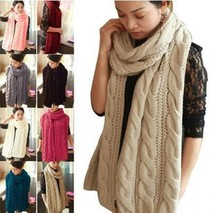 Lady Long Wool Pashmina Warm Knit Scarf Shawl Women Thick Winter Neck Scarves