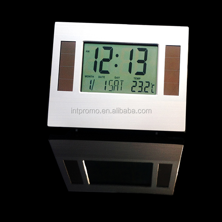 desktop Solar powered digital clock with digital calendar display