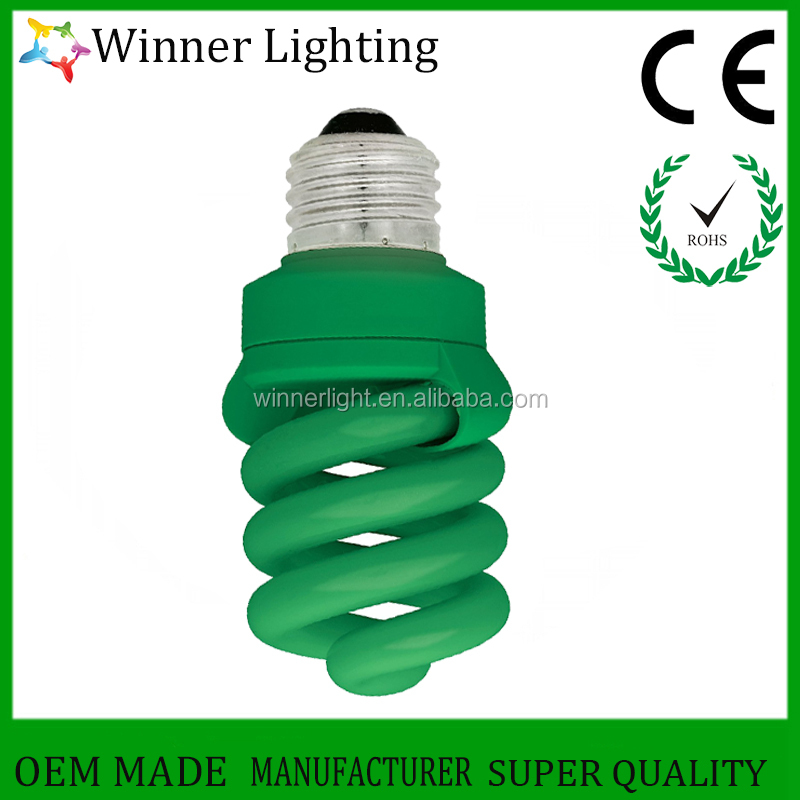 Medium Base Compact Fluorescent Lamp Bulb Spiral CFL Lights Bulbs for Home Indoor Outdoor Fluorescent Bulb with Green Bright