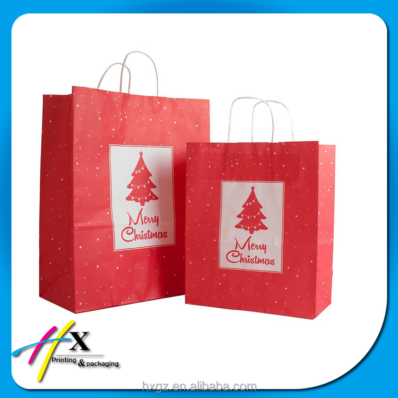 red kraft paper bag printed christmas packaging new years gift wit low moq
