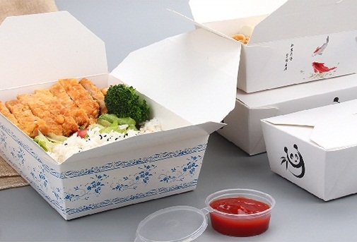 White Kraft Paper Disposable Lunch  Blue and white porcelain element Microwave Eco- friendly square container