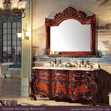 Bathroom Vanity with Granite Counter Top Basin Double Sinks and Solid Wood Cabinet HB-6001