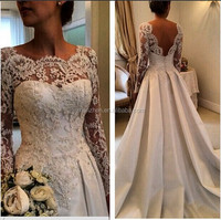 New Arrivals HMY-016 Ivory Long Sleeves V-back Satin Wedding Dresses Alibaba Bridal Gowns