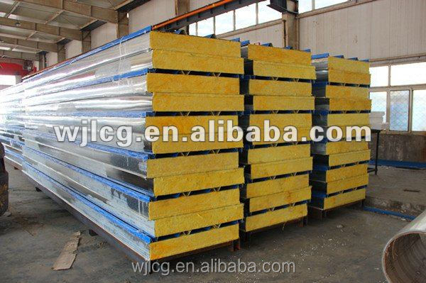 Fireproof insulation glass wool metal sandwich panels for for Fireproof wall insulation