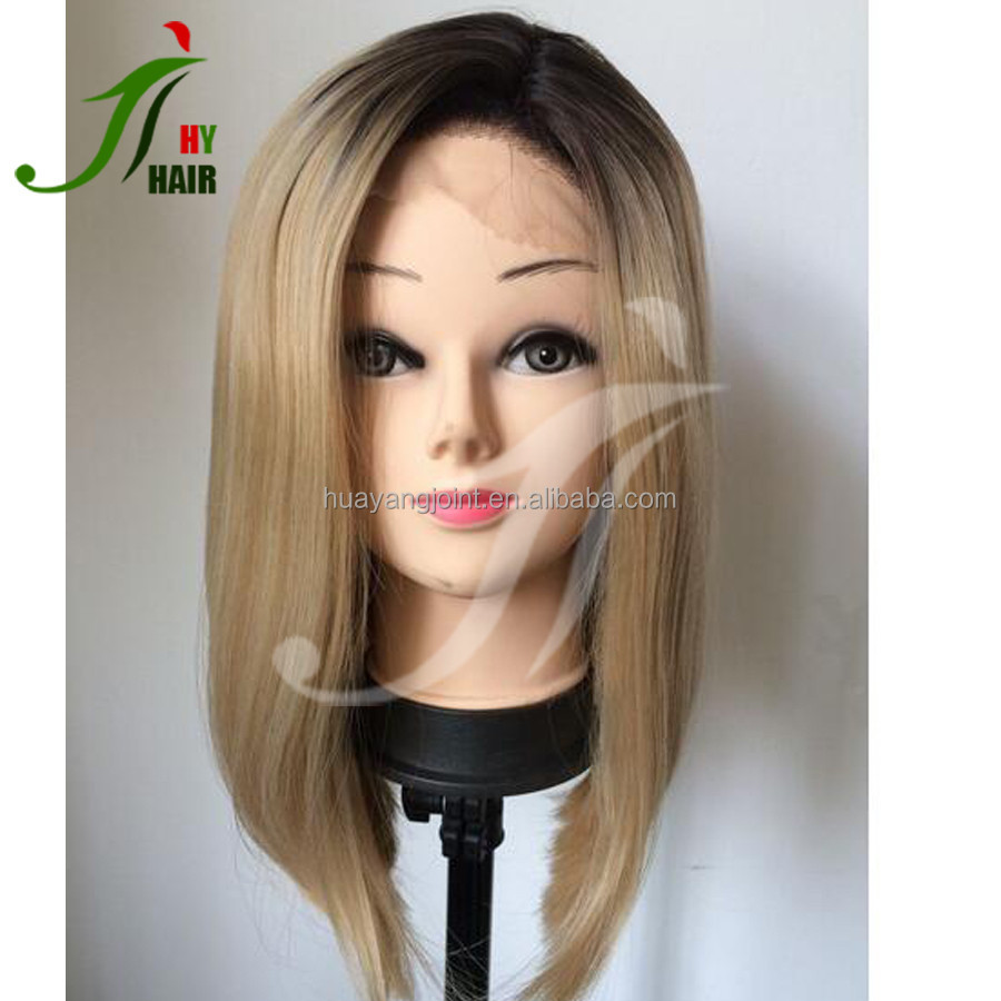 Short Ombre Full Lace Bob Wig Silky Straight Two Tone Blonde Human Hair Full Lace Wig with Baby Hair for Young Pretty Girl