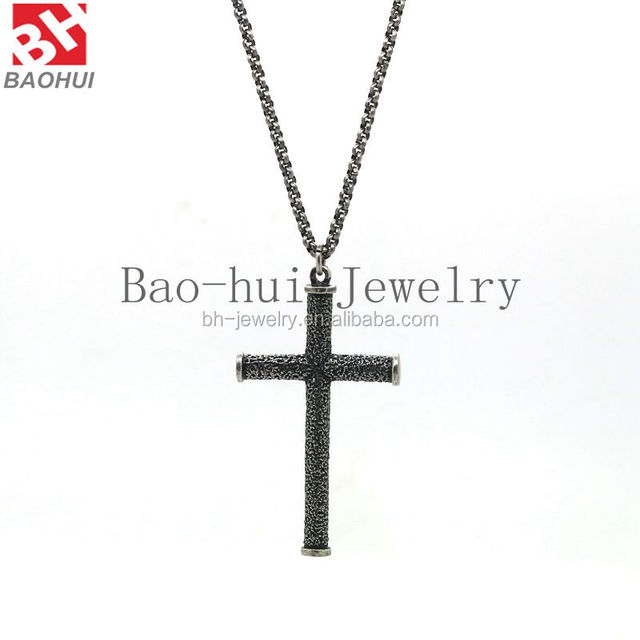 Men's Stainless Steel Simple Black Cross Pendant Lord's Prayer Necklace China Supplier