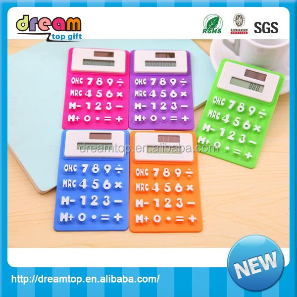 Wholesale Solar Powered Silicone Calculator 8 digit counter for promotion foldable flexible desktop calculator