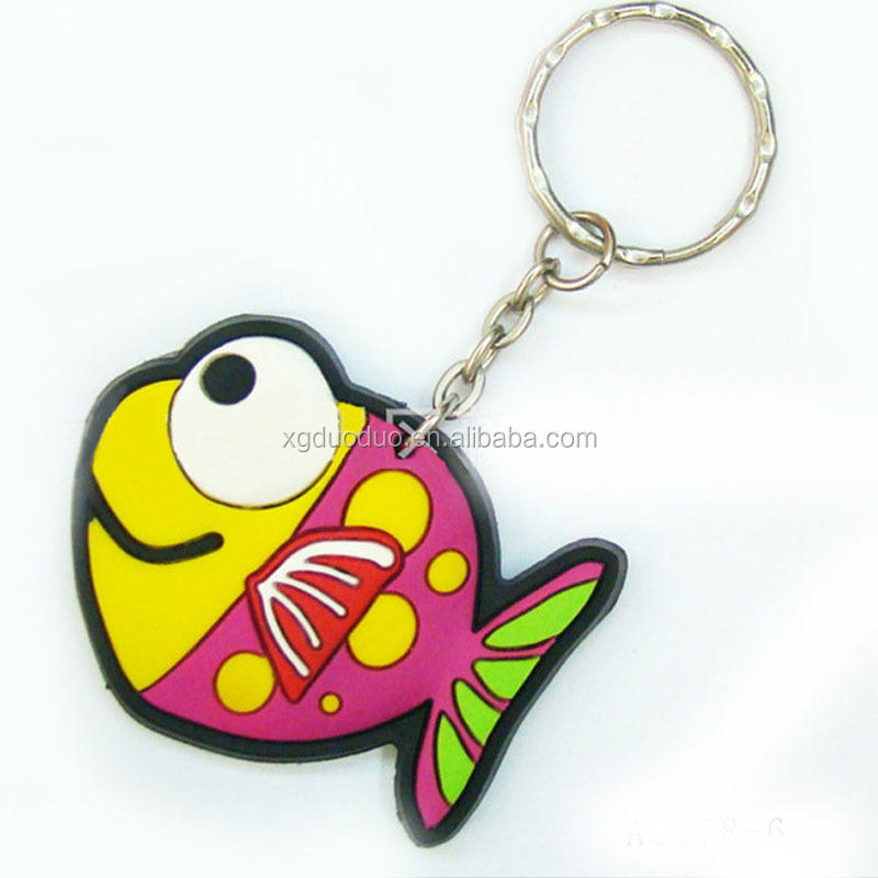 Beautiful souvenir fish designs soft pvc keychain