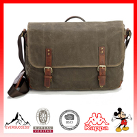 High Quality BSCI Factory Vintage Messenger Bag Waxed Canvas Bag