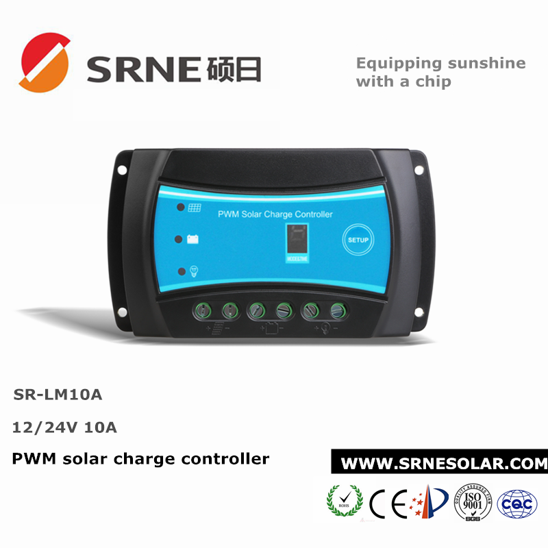 SRNE 10A Solar Panel PWM Dual Battery Charge Controller Regulator 12v/24v