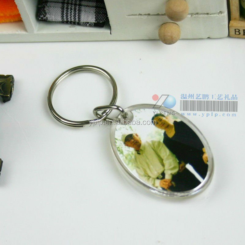 Custom Oval Clear Plastic Acrylic Photo Insert Die Cut Keychains