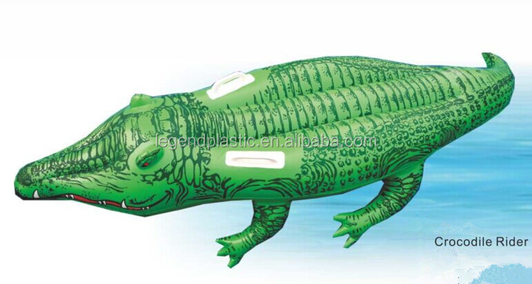 Inflatable Crocodile Pool Float Rider, Floating Crocodile Air Mattress
