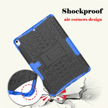 2 in 1 tire grain skid resistance shockproof plastic tpu tablet case for ipad apple pro 10.5 / 12.9 / 9.7 cover with holder
