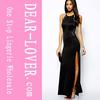Latest Sexy Long Party Black Lace Splicing Maxi turkish Evening Dress