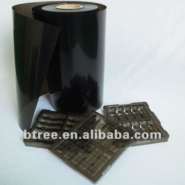 Permanent Antistatic / Conductive Black PET Sheet for Silicon Chip
