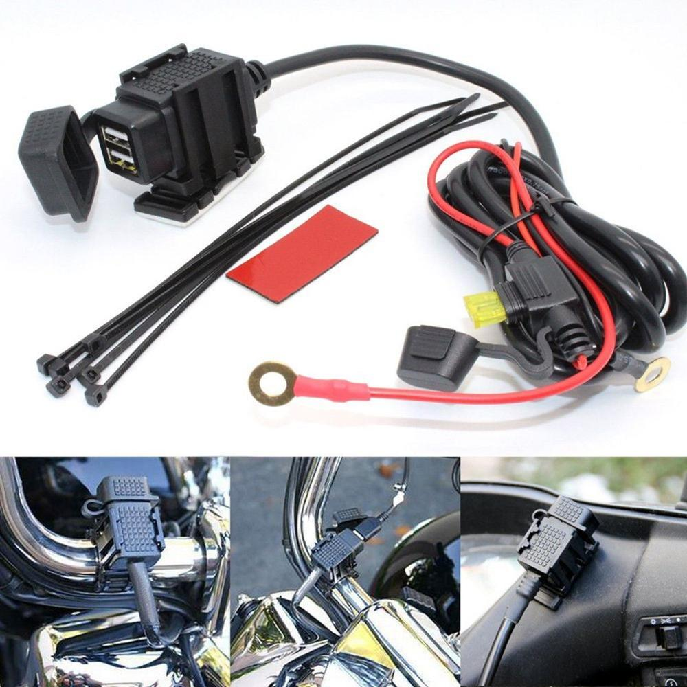 Motorcycle 2.1A Dual USB Mobile Phone Power Supply Port Socket Charger