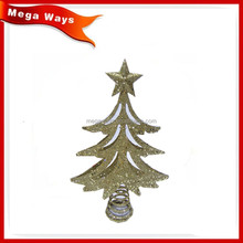 Functional christmas metal golden glitter tree topper