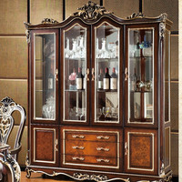 TYX608-European retro classical show case with four doors luxury dining room wine glass display cabinet