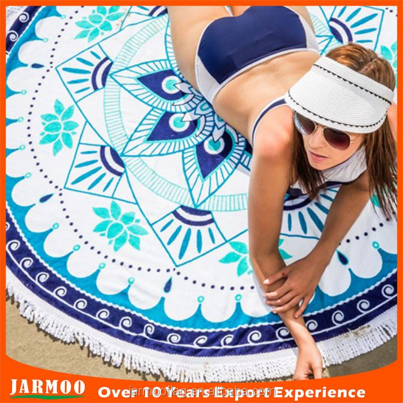Custom printing cheap custom partten 100 cotton round beach towel