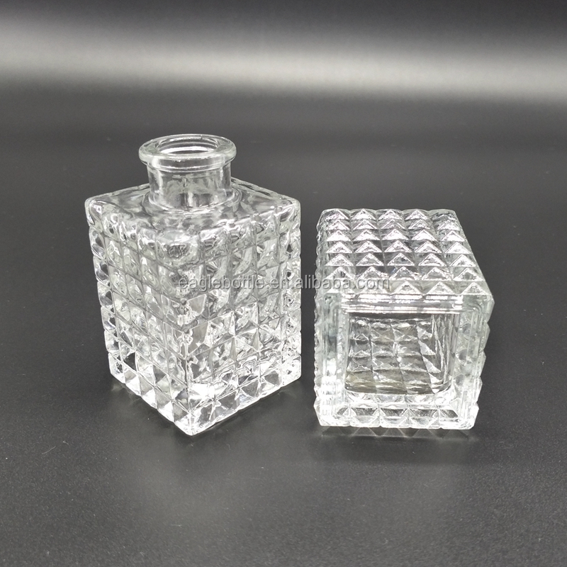 100ml 150ml empty square shape aroma diffuser diamond bottle for home decoration