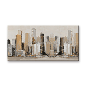Canvas Art Prints Abstract Cityscape Painting Art Handpainted Oil Painting