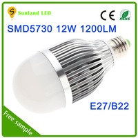 New product cheap price CE ROHS passed E27 B22 SMD5730 12w 2012 pure white led bulb