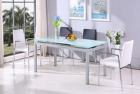 Cheap modern glass table set gerneral use metal home furniture dining room