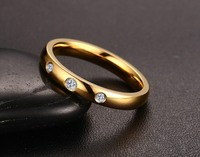 Fashion simple design women ring with 3 pcs zircon stainless steel jewelry
