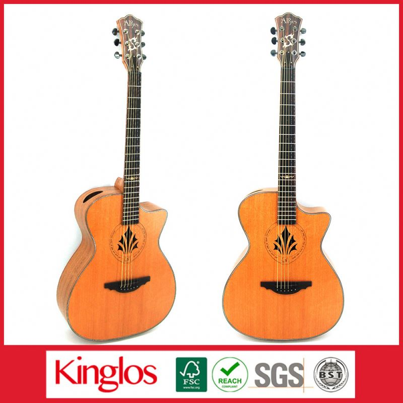 Wholesale Artistic Carving Colour Solid Wood Acoustic Guitar Made By Chinese Guitar luthier,for Guitar enthusiast (S41U-010-025)