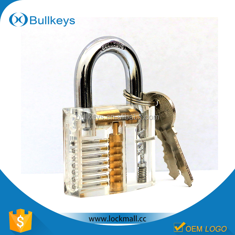 Bullkeys Transparent/Clear Cutaway Practice Padlock Lock Training Skill Pick for Locksmith