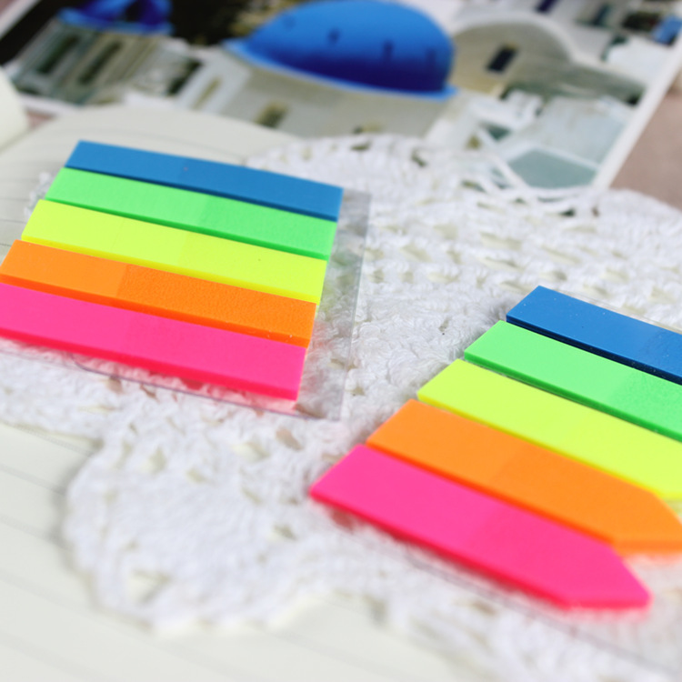PET neon page markers high quality and sticky arrow shape