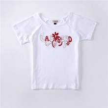 Plain printed summer kid t shirts for girls 100% cotton