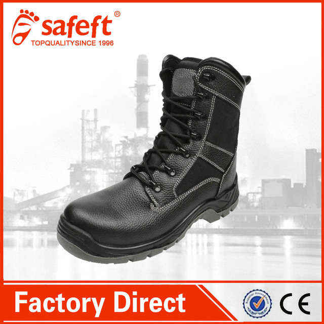 black leather steel cap swat used army combat winter women's fur italian military boots