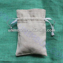 custom print linen sachet pouch with silver ribbon drawstring for jewlery