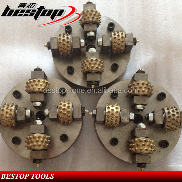D200mm Concrete Diamond Bush Hammer with Bush Rollers for Stone Litchi Surface