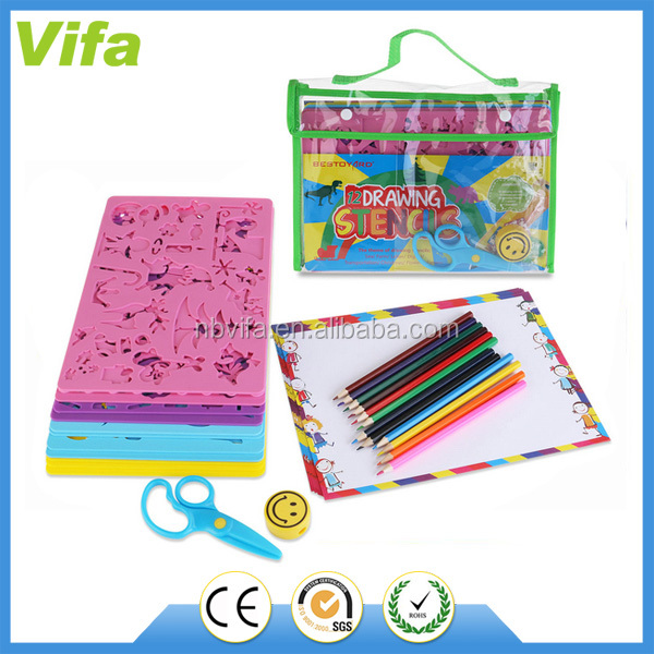 12 Drawing Stencils with Assorted Designs Craft Kids DIY Painting Art Tool Set