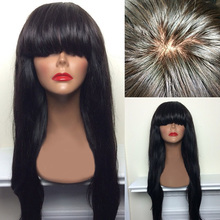 Unprocessed Human Indian Hair Silky Straight Wave Lace Frontal Wig in stock