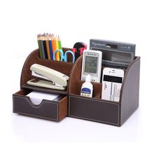Useful and Great Capacity Multifunctional Leather Pen Pencil Holder Desk Organizer Office Desk Accessories Container Box