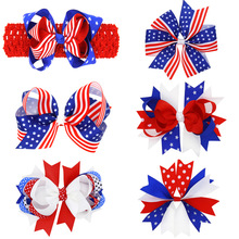 High quality 4th July Red White Blue White Stars Head Wrap July 4th Bow Headband