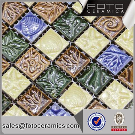 Glazed ceramic mosaic wall tile with free mosaic flower patterns