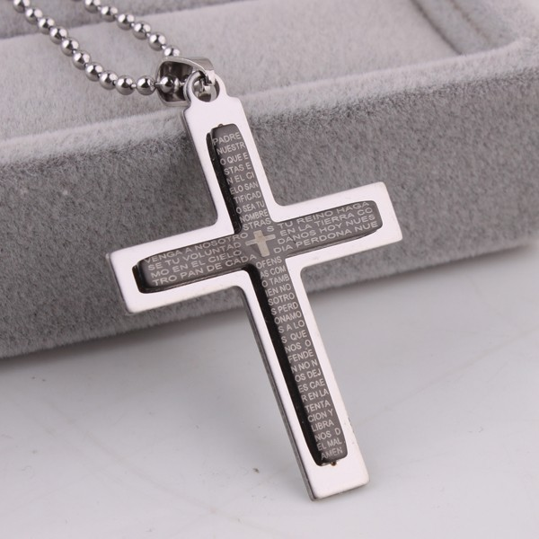 Black Double layer Holy Bible cross stainless steel Pendants
